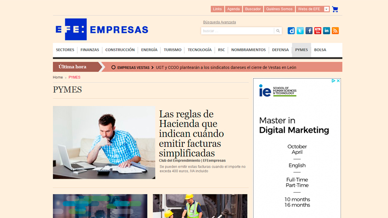 "</p> <h3 style=""text-align:center;padding-top:5px;"">Periódico online: Área PYME (con la Agencia EFE)</h3> <p>"